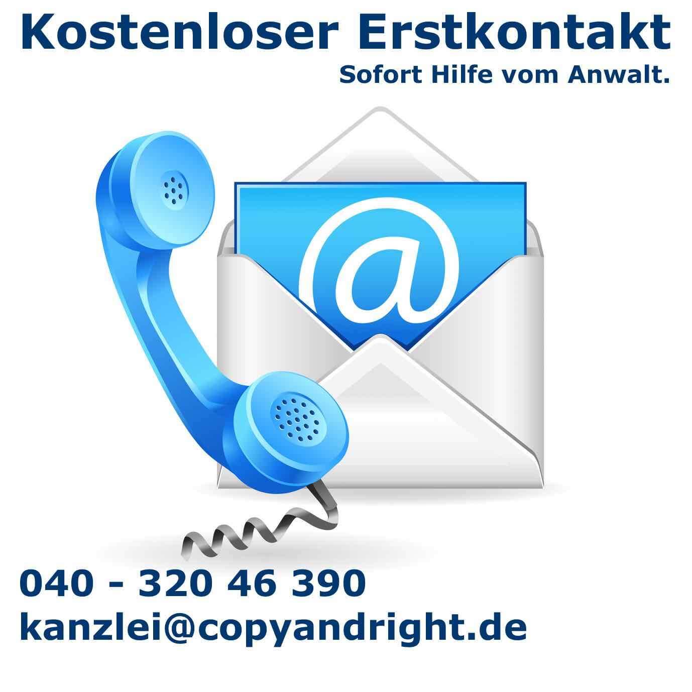 Kostenloser Erstkontakt Kanzlei - copy and right - Hamburg