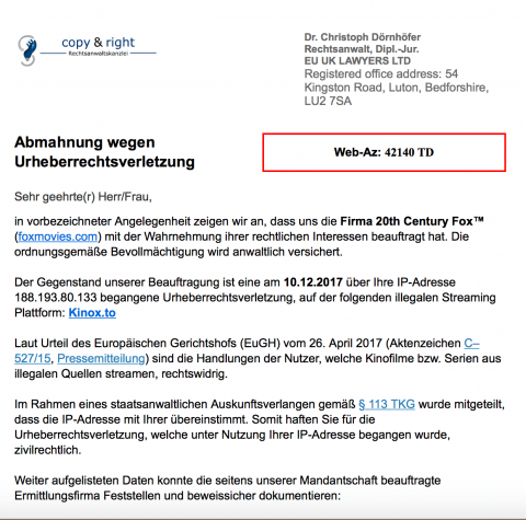 Fake Abmahnung EU UK Lawyers Ltd